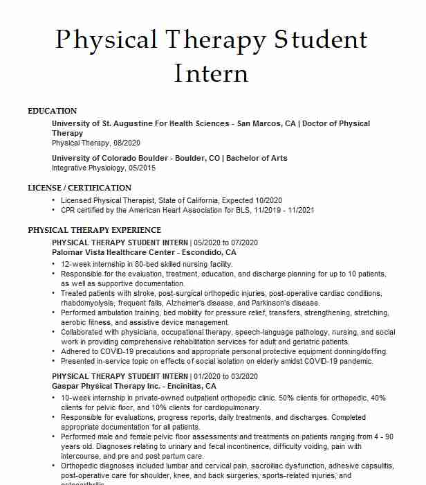 physical therapy student intern resume example water sports san diego professional Resume Physical Therapy Intern Resume