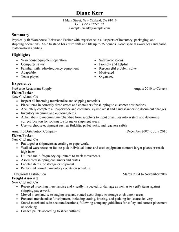 picker and packer resume examples created by pros myperfectresume shipper receiver sample Resume Shipper Receiver Resume Sample
