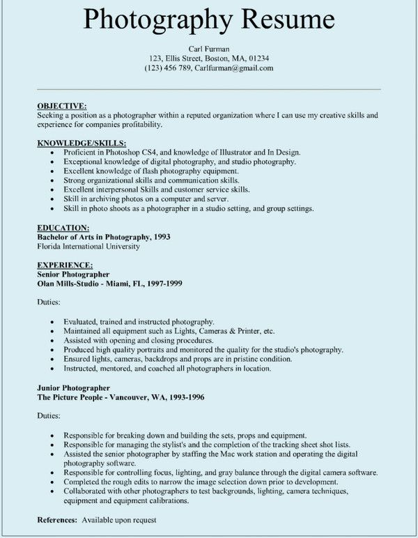 pin by carl on resume free template word photography skills for photographer janitor Resume Skills For Photographer Resume