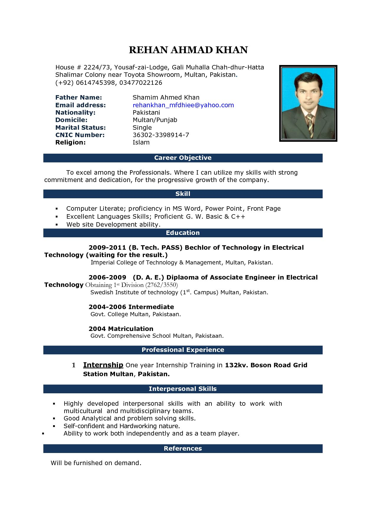 pin on cv standard resume template word technician example mba motocross another for Resume Standard Resume Template Word