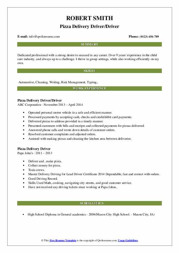 pizza delivery driver resume samples qwikresume boy sample pdf example of for ojt bp Resume Delivery Boy Resume Sample