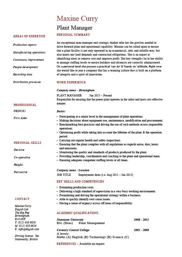 plant manager resume production job description cv example sample workshops career hiring Resume Hiring Manager Job Description For Resume