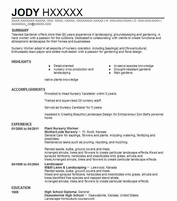 plant nursery worker resume example resumes livecareer objective for stock inventory Resume Resume Objective For Plant Worker