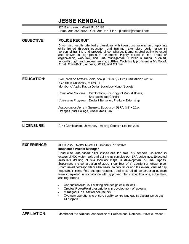 police officer resume sample objectivecareer template career objective examples statement Resume Police Officer Resume Objective Statement