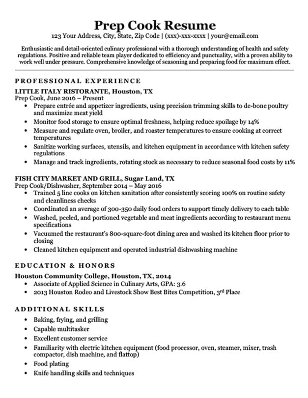 prep resume sample format responsibilities for with startup summary examples high school Resume Cook Responsibilities For Resume