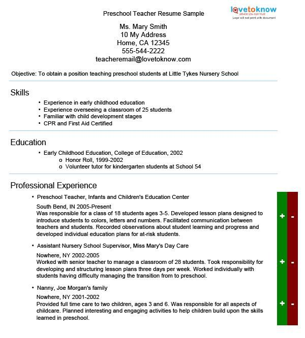 preschool teacher resume guide elementary template daycare skills for quality control Resume Daycare Teacher Skills For Resume