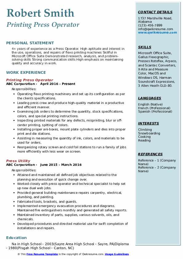 press operator resume samples qwikresume sample pdf beekeeper attractive templates for Resume Press Operator Resume Sample