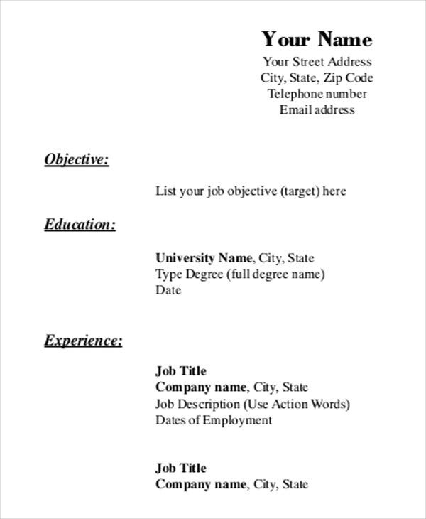 printable resume template free word pdf documents premium templates format for blank Resume Printable Format For Resume