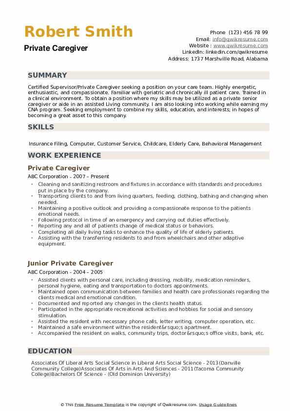 private caregiver resume samples qwikresume duties of for pdf free writing workshops nyc Resume Duties Of Caregiver For Resume