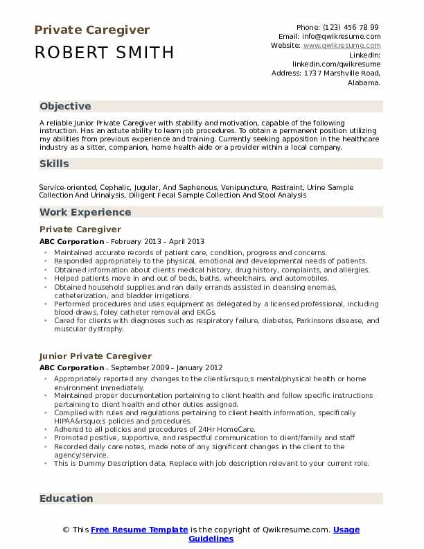 private caregiver resume samples qwikresume objectives templates examples pdf college Resume Caregiver Objectives Resume Templates Examples