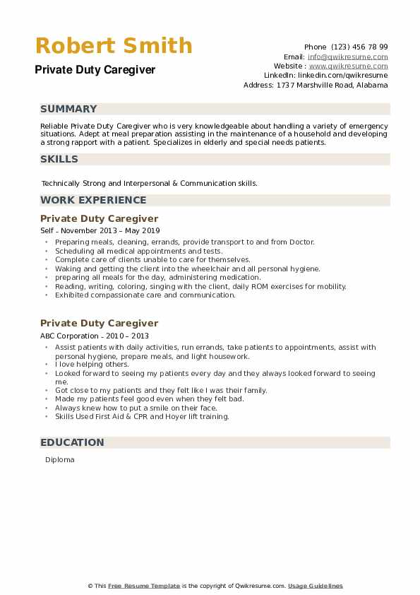 private duty caregiver resume samples qwikresume duties of for pdf leadership qualities Resume Duties Of Caregiver For Resume