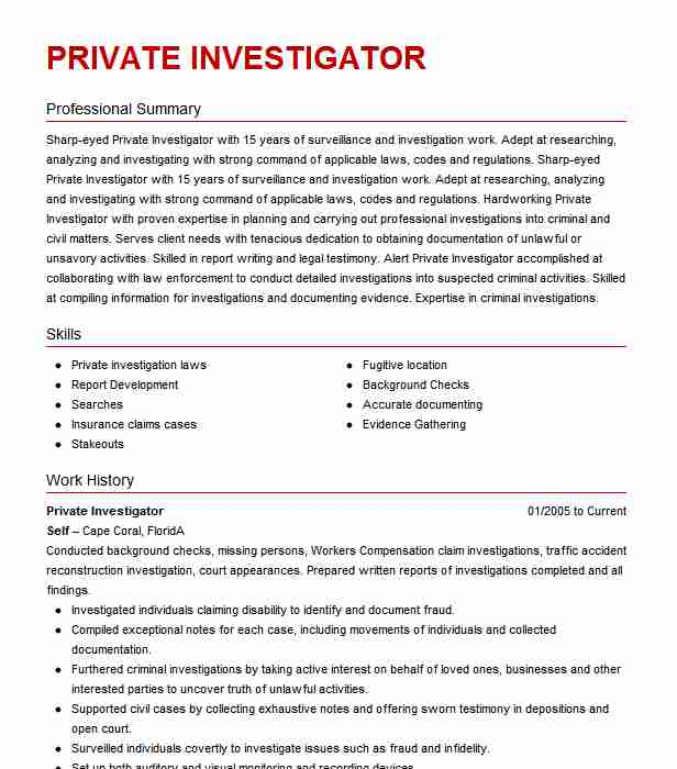 private investigator resume example resumes misc livecareer entry level valet attendant Resume Entry Level Private Investigator Resume