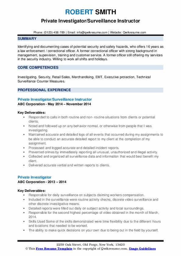 private investigator resume samples qwikresume entry level pdf good examples for Resume Entry Level Private Investigator Resume