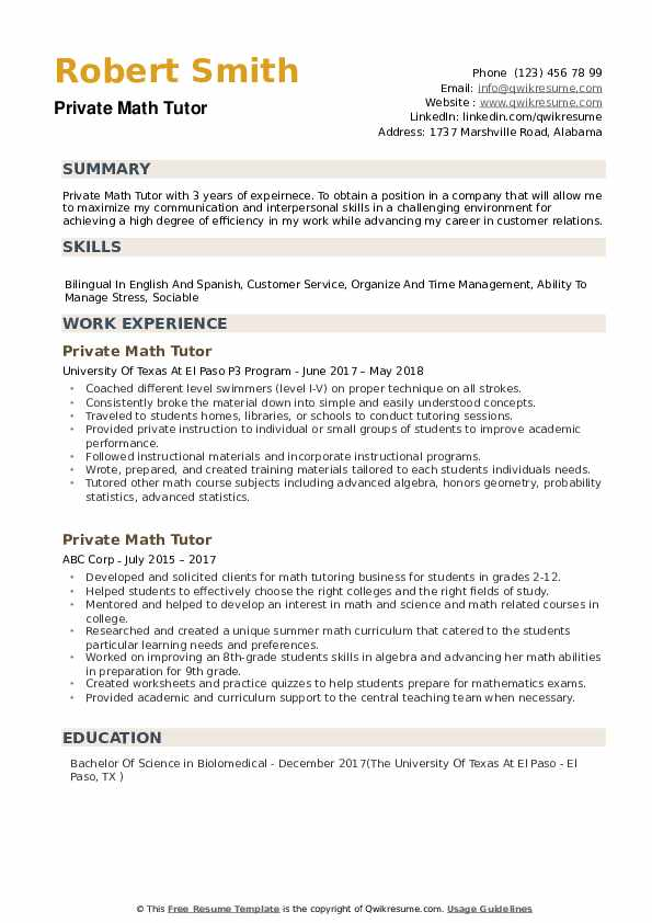 private math tutor resume samples qwikresume description pdf work and experience personal Resume Tutor Resume Description