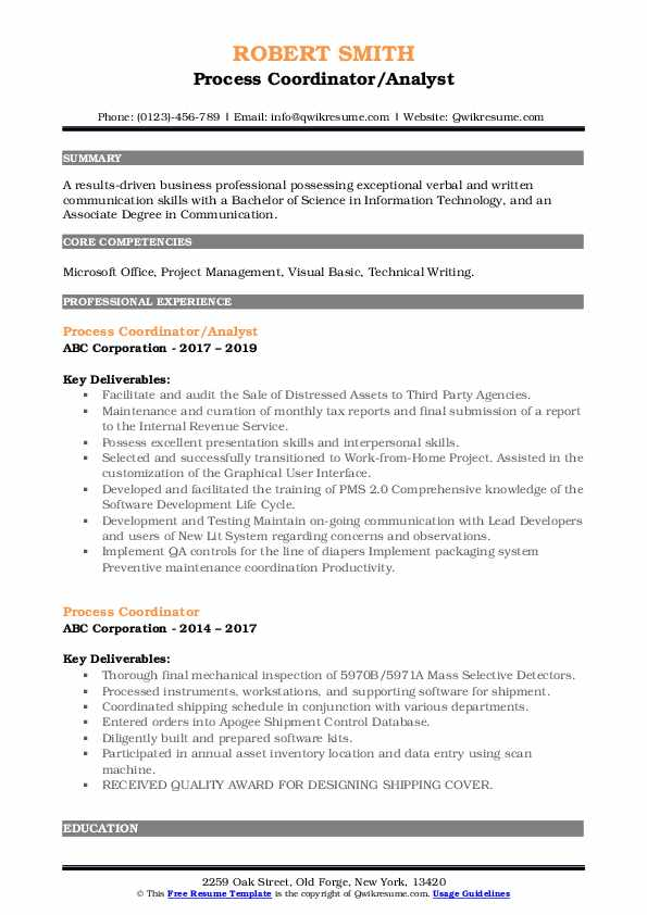 process coordinator resume samples qwikresume pdf human resources assistant objective Resume Process Coordinator Resume