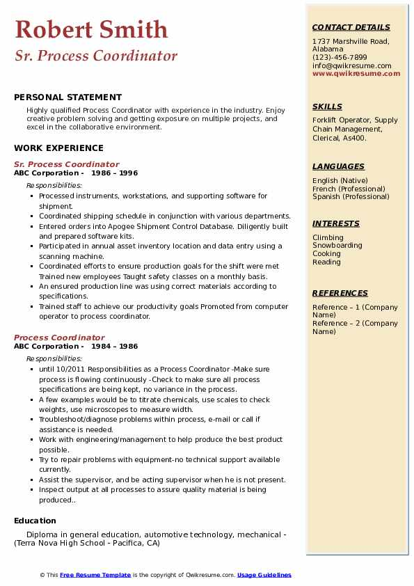 process coordinator resume samples qwikresume pdf retail job experience for research Resume Process Coordinator Resume