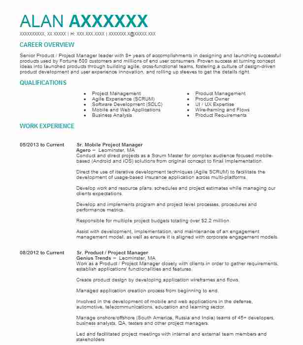 product manager resume example bmw technology chicago salon receptionist sample security Resume Mobile Product Manager Resume