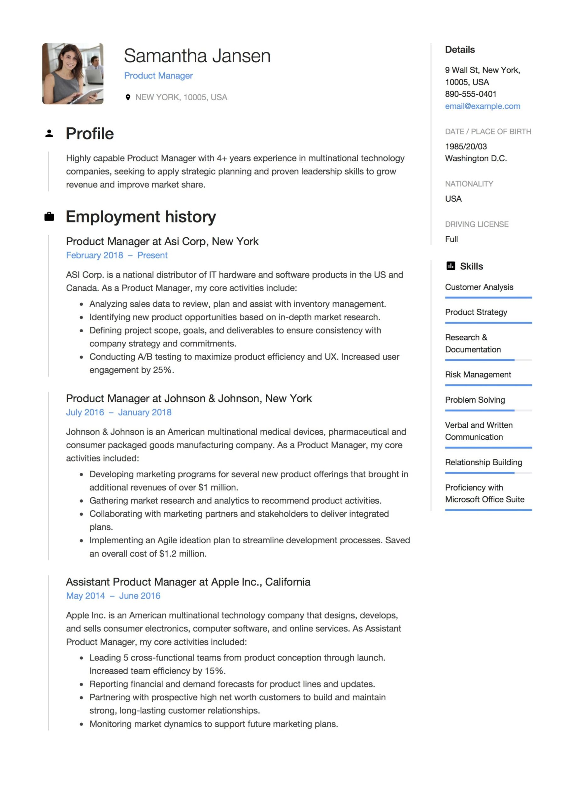 product manager resume guide samples pdf sample personal summary examples builder google Resume Product Manager Resume Sample