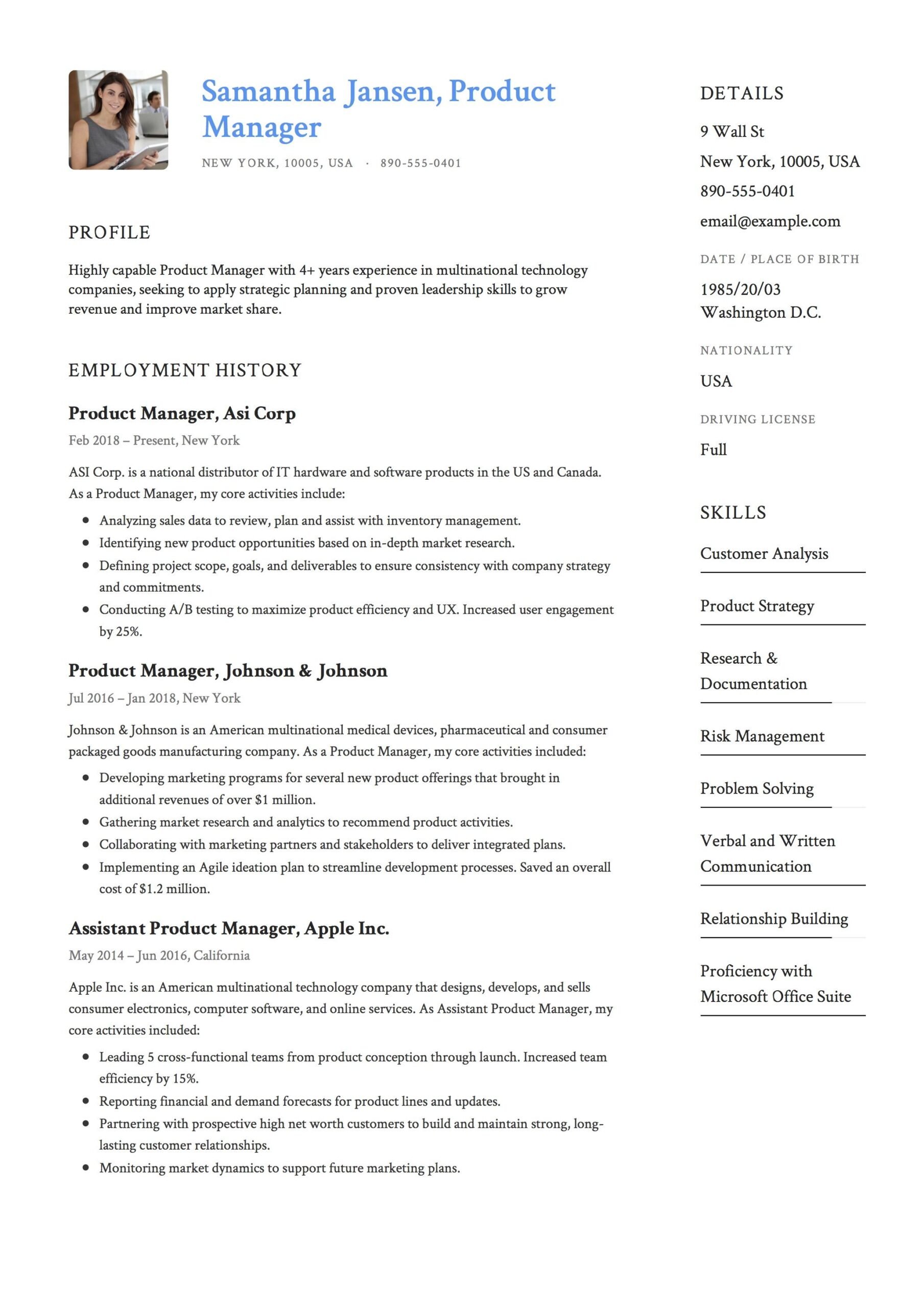 product manager resume sample template example cv formal design examples guide personal Resume Product Manager Resume Sample
