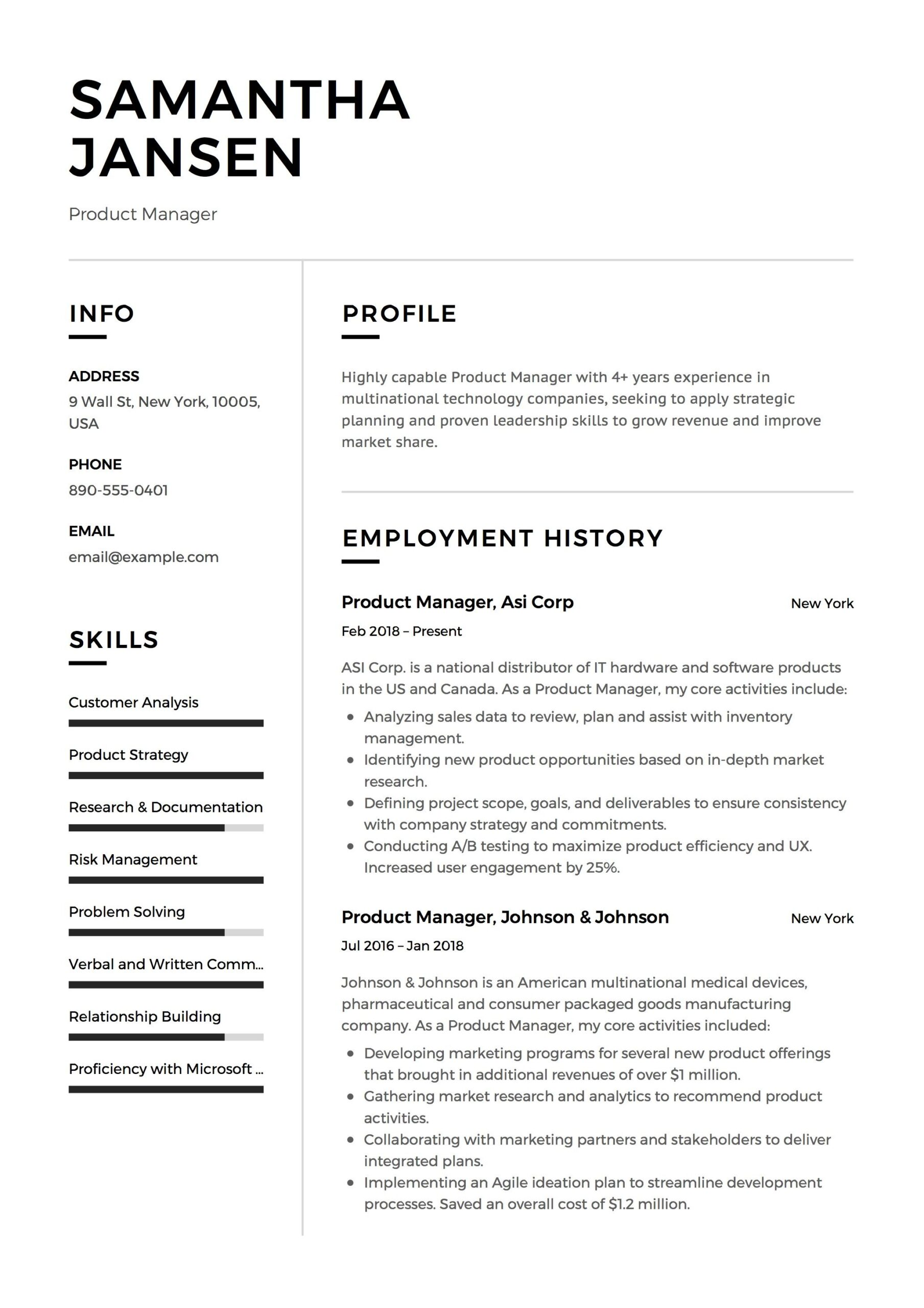 product manager resume sample template example cv formal design examples job student Resume Professional Job Resume Template