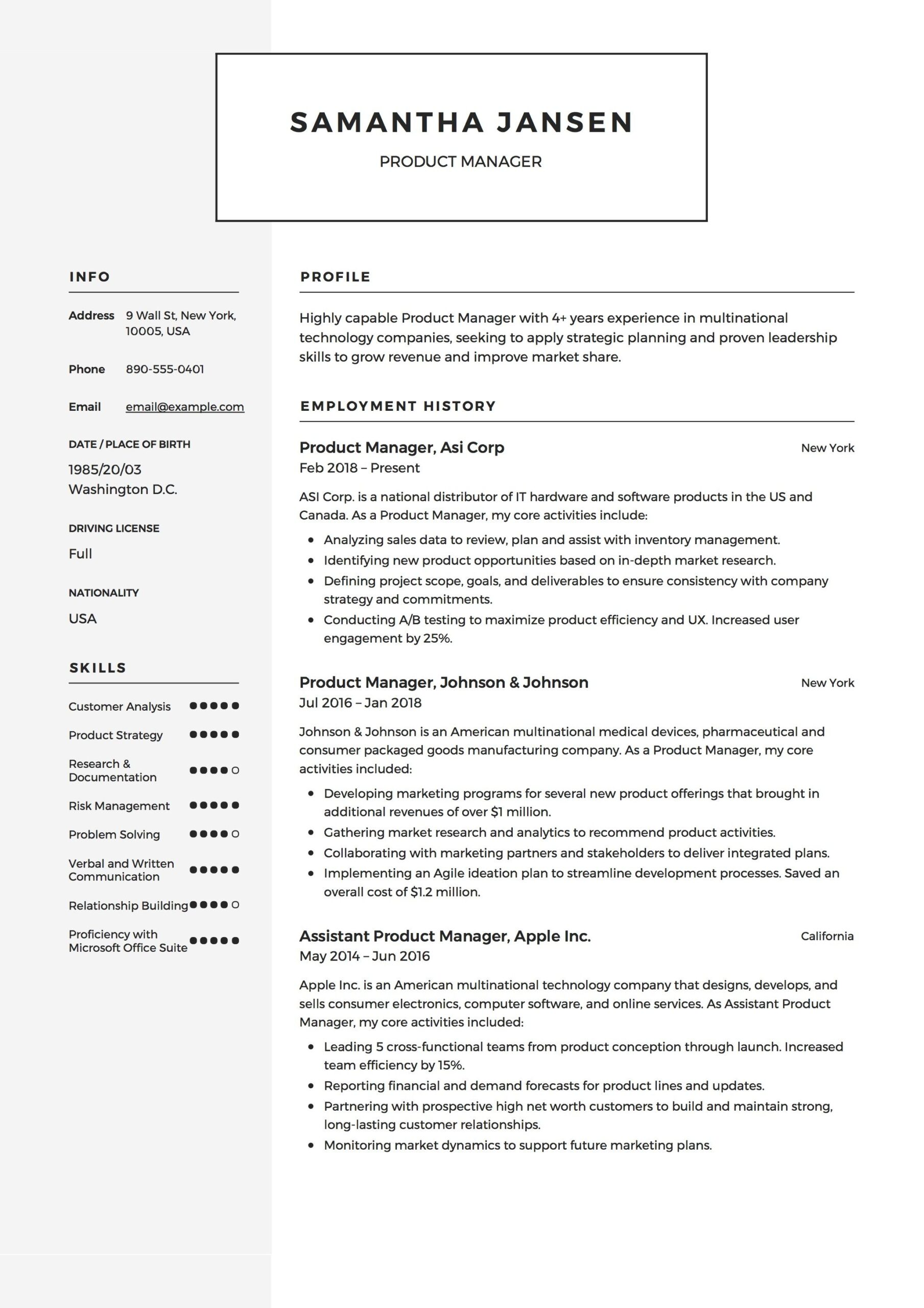 product manager resume sample template example cv formal design examples pdf for acting Resume Product Manager Resume Sample