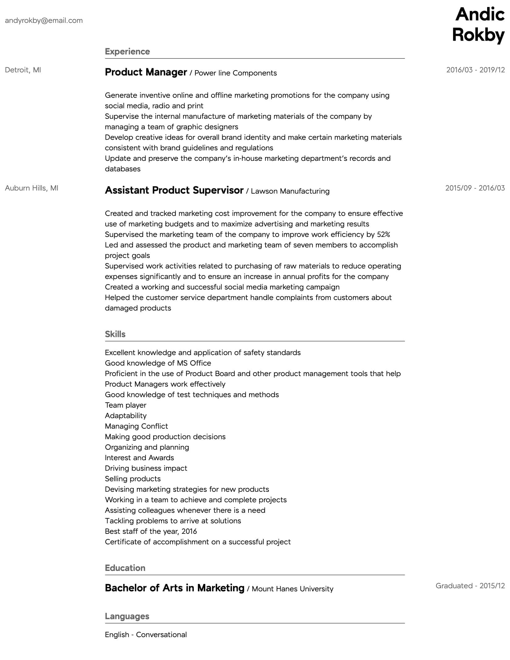 product manager resume samples all experience levels sample intermediate personal driver Resume Product Manager Resume Sample