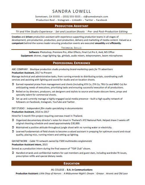 production assistant resume sample monster film industry format auto mechanic security Resume Film Industry Resume Format