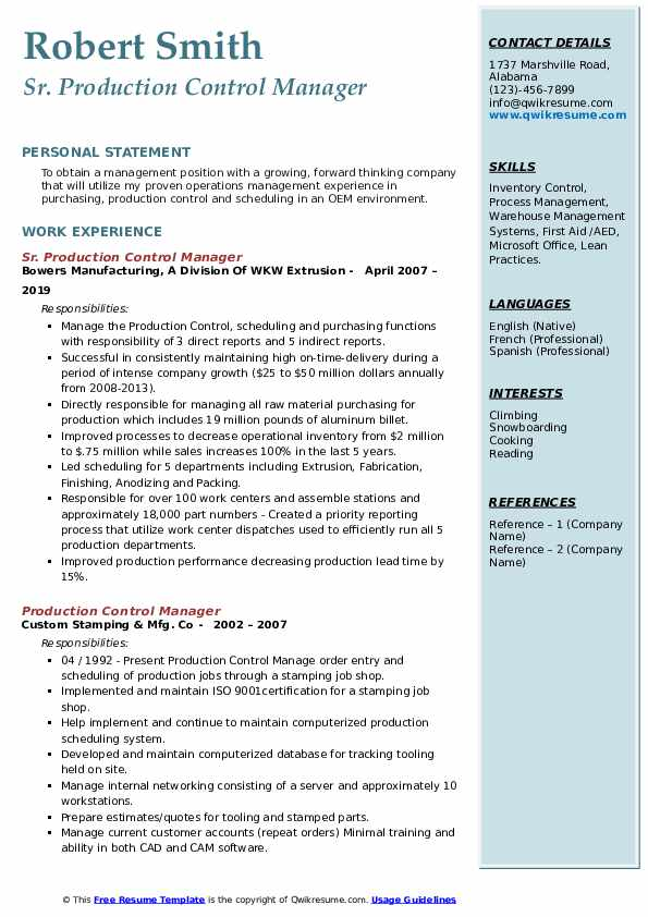 production control manager resume samples qwikresume pdf ksu template waitress skills for Resume Production Control Manager Resume