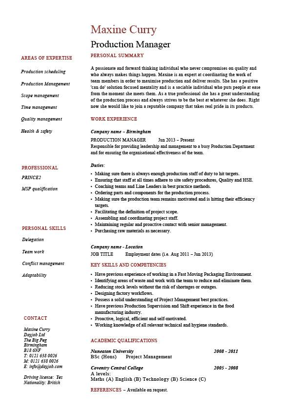 production manager resume samples examples template job description workflow control pic Resume Production Control Manager Resume