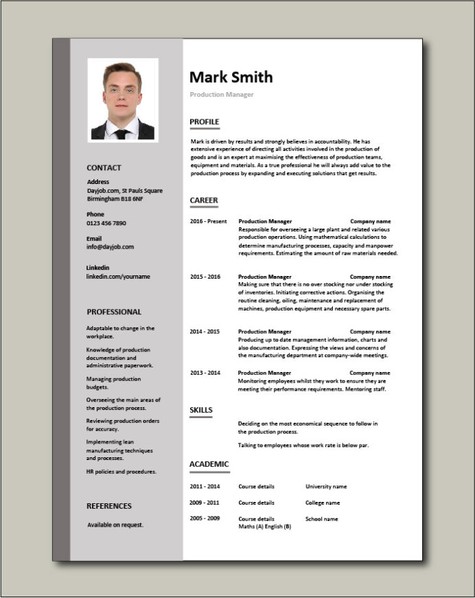production manager resume samples examples template job description workflow quality free Resume Quality Manager Resume Template
