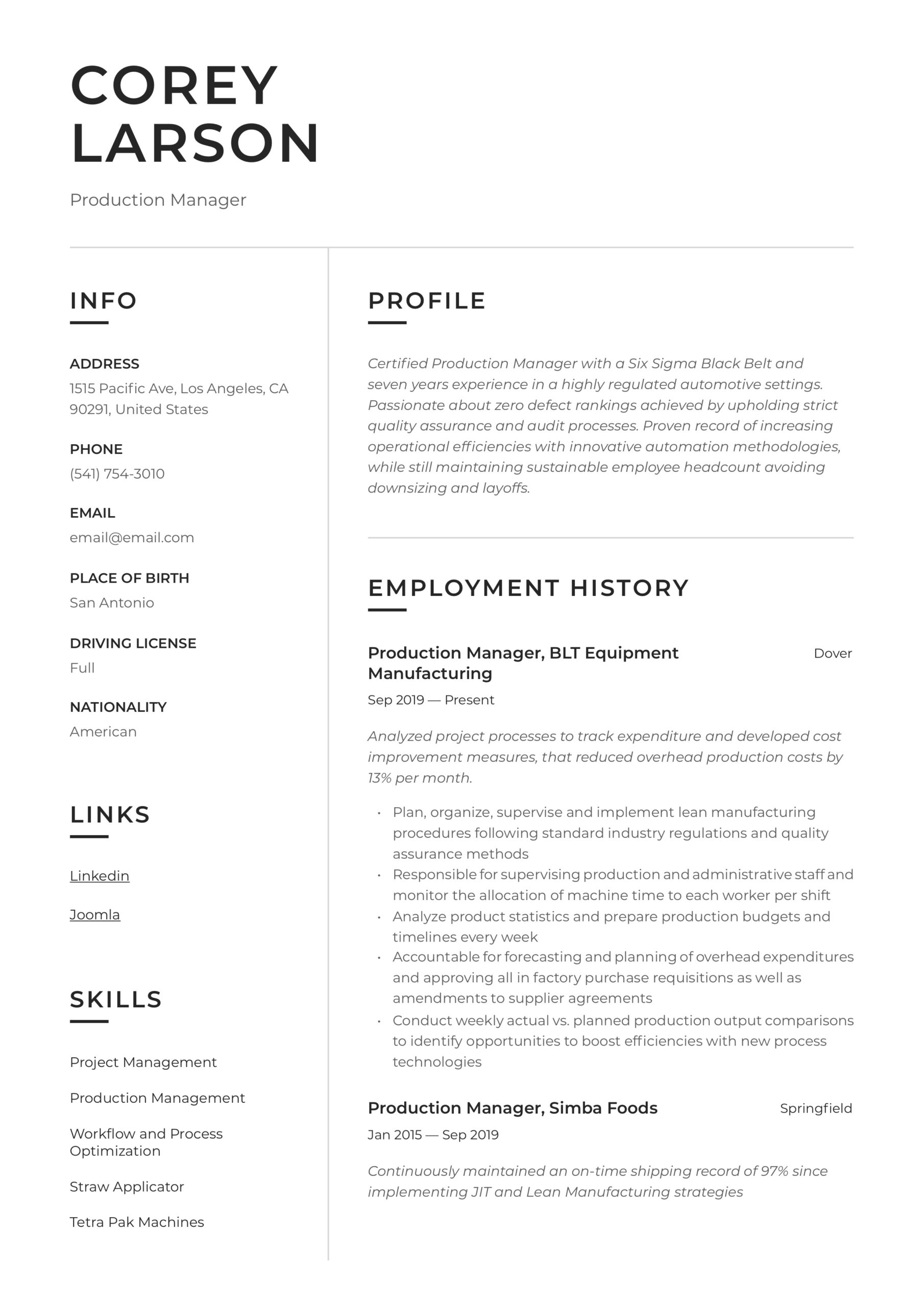 production manager resume writing guide templates examples good customer service emt Resume Production Resume Examples