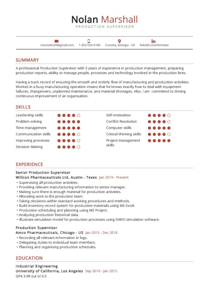 production supervisor resume example in resumekraft examples sample household assistant Resume Production Resume Examples