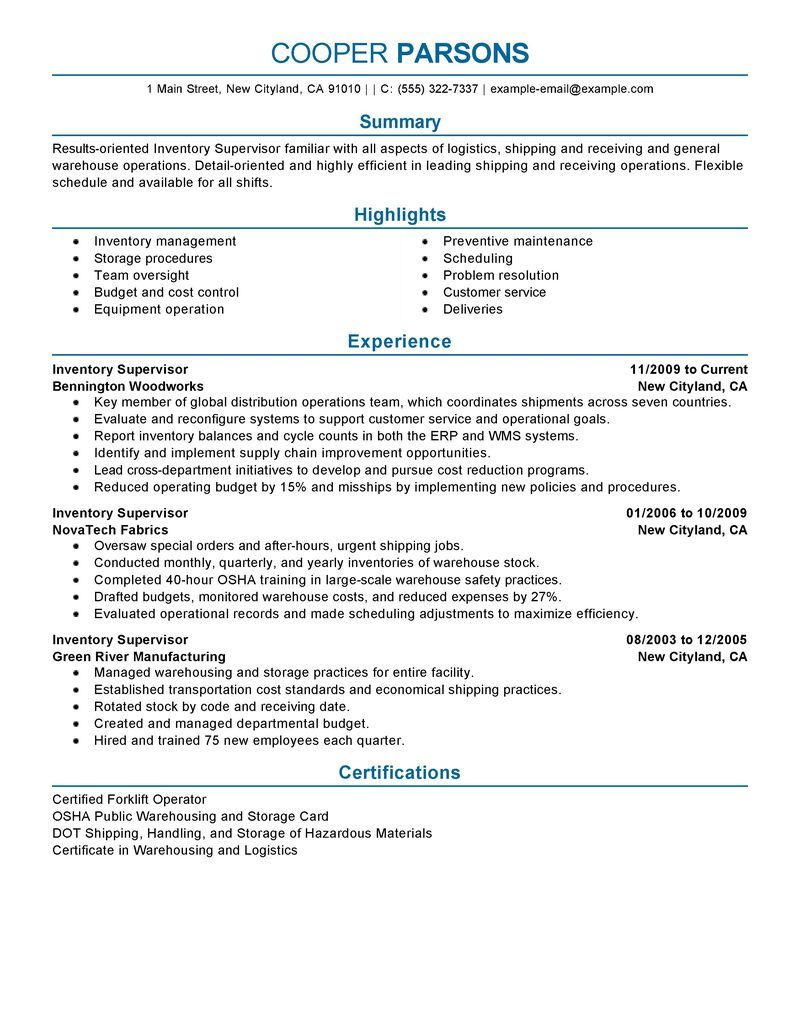 production supervisor resume sample writing services manager examples transportation Resume Transportation Supervisor Resume Example