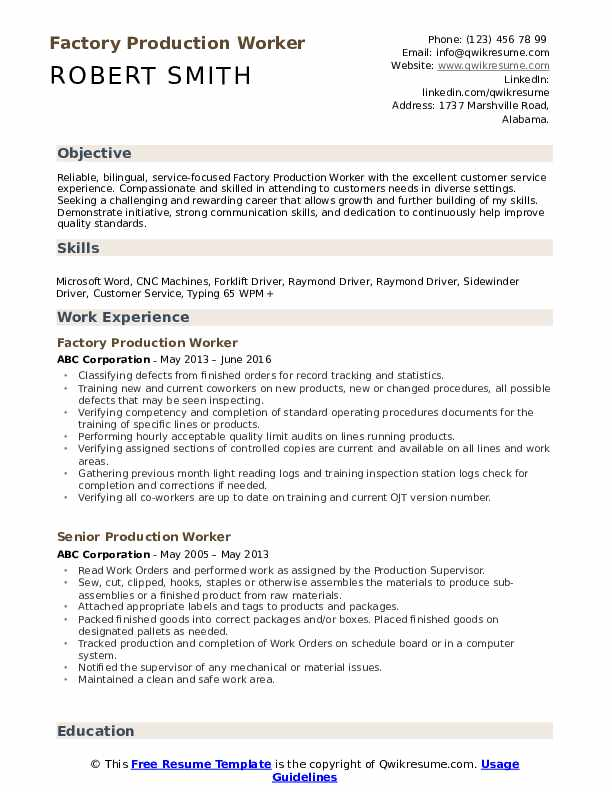 production worker resume samples qwikresume objective for plant pdf define combination Resume Resume Objective For Plant Worker