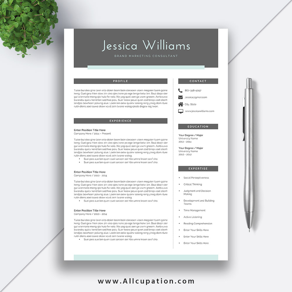 professional and simple resume template word job cv cover letter jessica allcupation Resume Two Page Resume Template Word