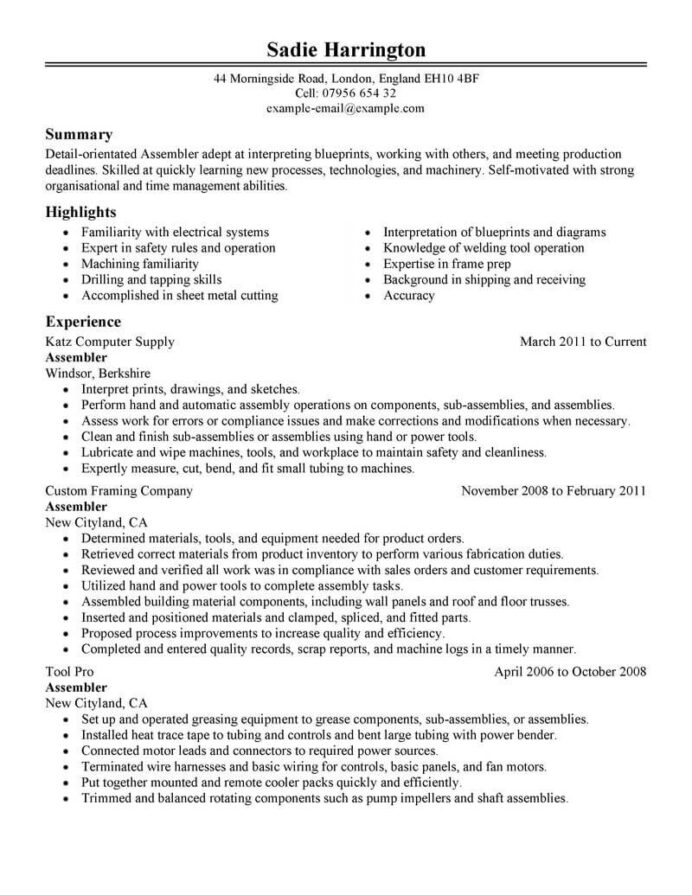 production line resume sample monster examples worker free templates with photo Resume Production Resume Examples