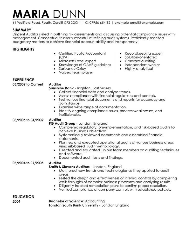 professional auditor resume examples accounting livecareer sap security audit finance Resume Sap Security Audit Resume