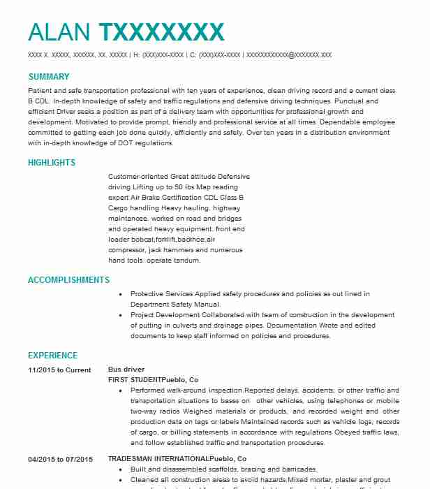 professional bus driver resume examples driving livecareer city sample print production Resume City Bus Driver Resume Sample