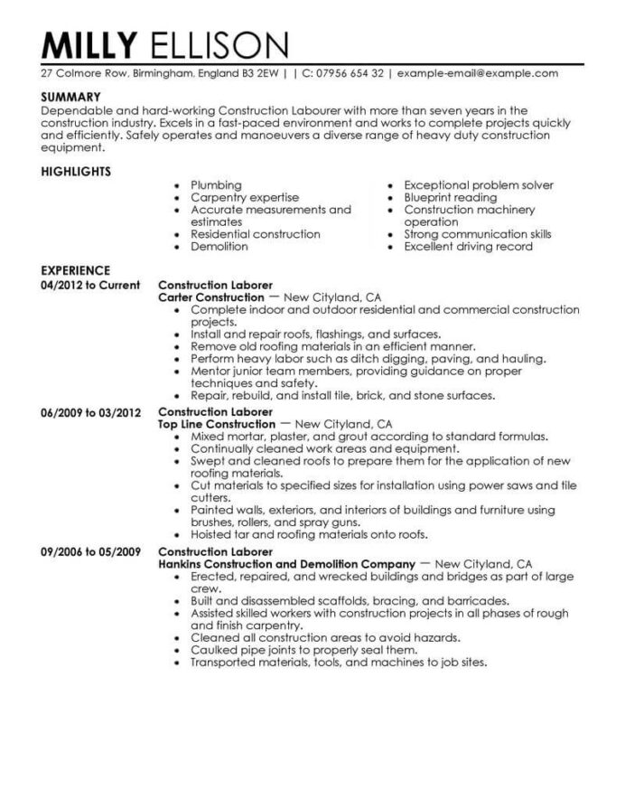 professional construction worker resume examples livecareer company labor contemporary Resume Construction Company Resume