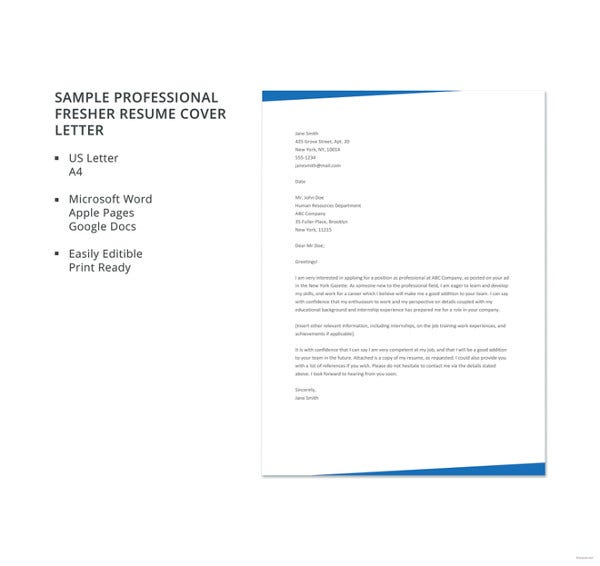 professional cover letter templates free sample example format premium resume fresher Resume Free Sample Resume Letter