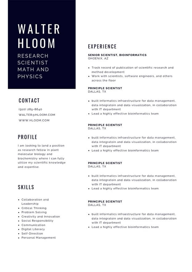 professional cv templates and examples writing tips hloom biochemistry resume format Resume Biochemistry Resume Format