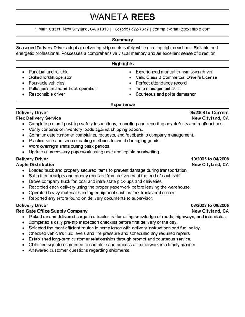 professional delivery driver resume examples driving livecareer route sample Resume Route Driver Resume Sample