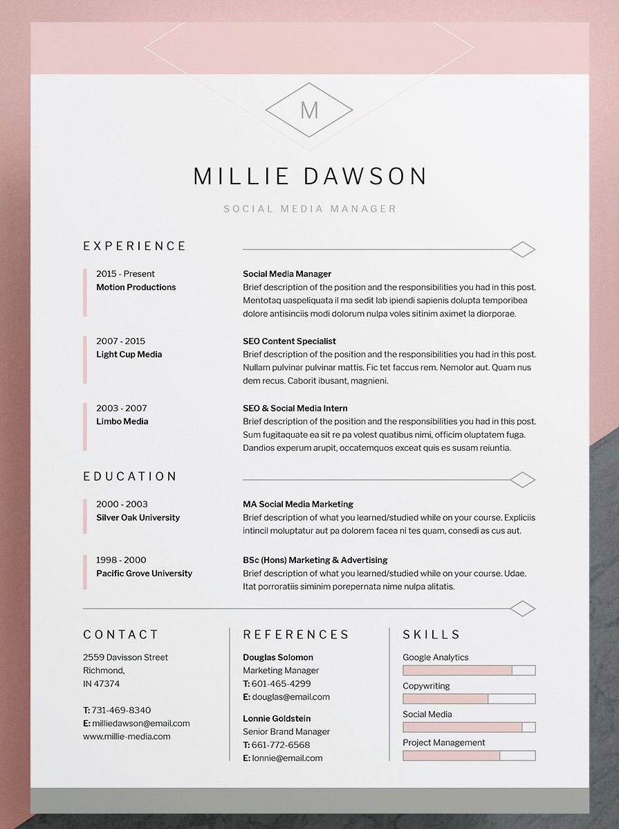 professional elegant resume cv template with matching cover letter available for wor Resume Elegant Resume Template