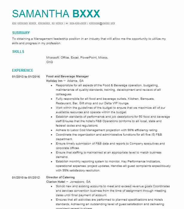 professional food and beverage manager resume examples service livecareer director sample Resume Food And Beverage Director Resume Sample