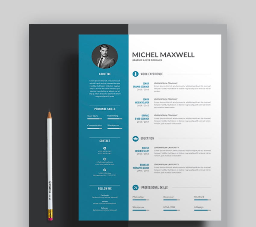 professional ms word resume templates simple cv design formats best template with color Resume Best Resume Template Word 2020