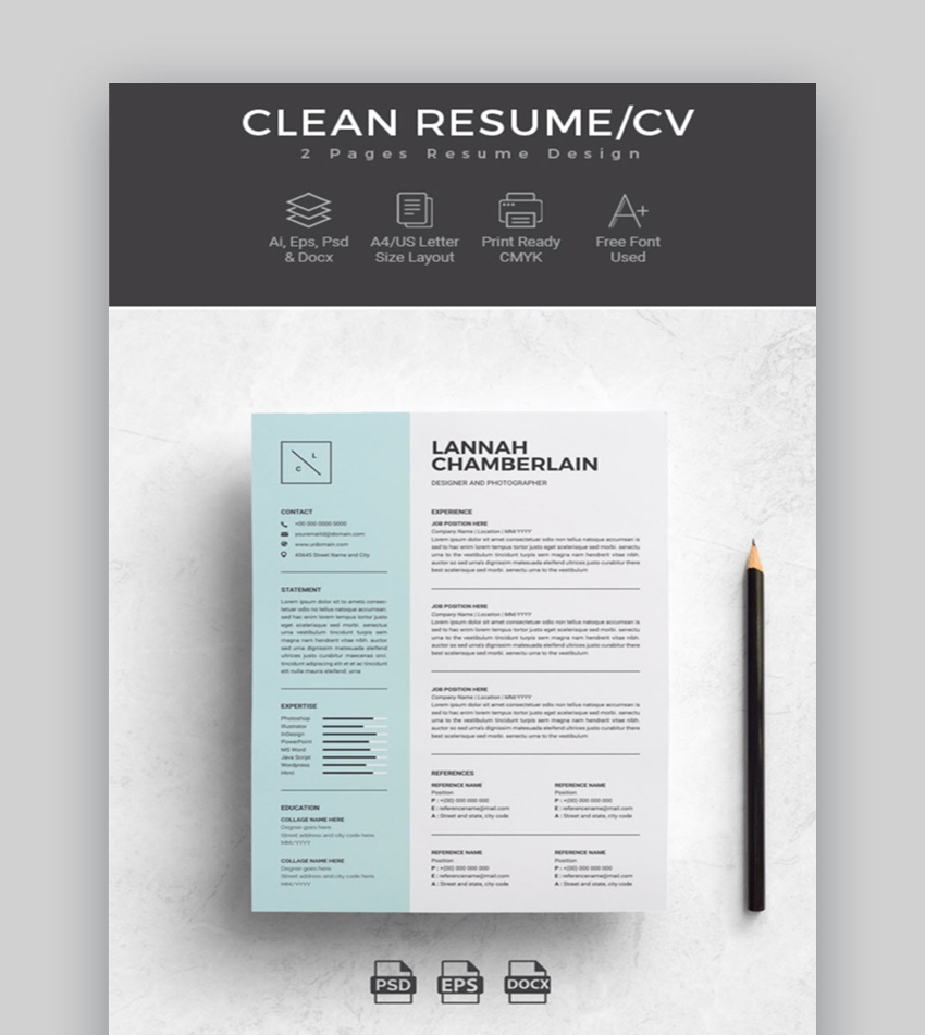 professional ms word resume templates simple cv design formats free clean template for Resume Free Word Resume Templates 2019