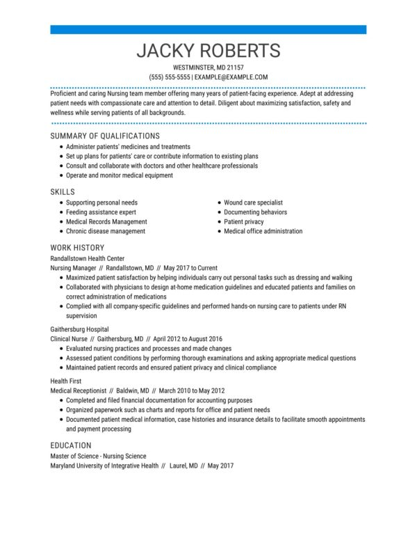professional nursing resume examples livecareer summary for manager cabin crew interview Resume Professional Summary For Nursing Resume