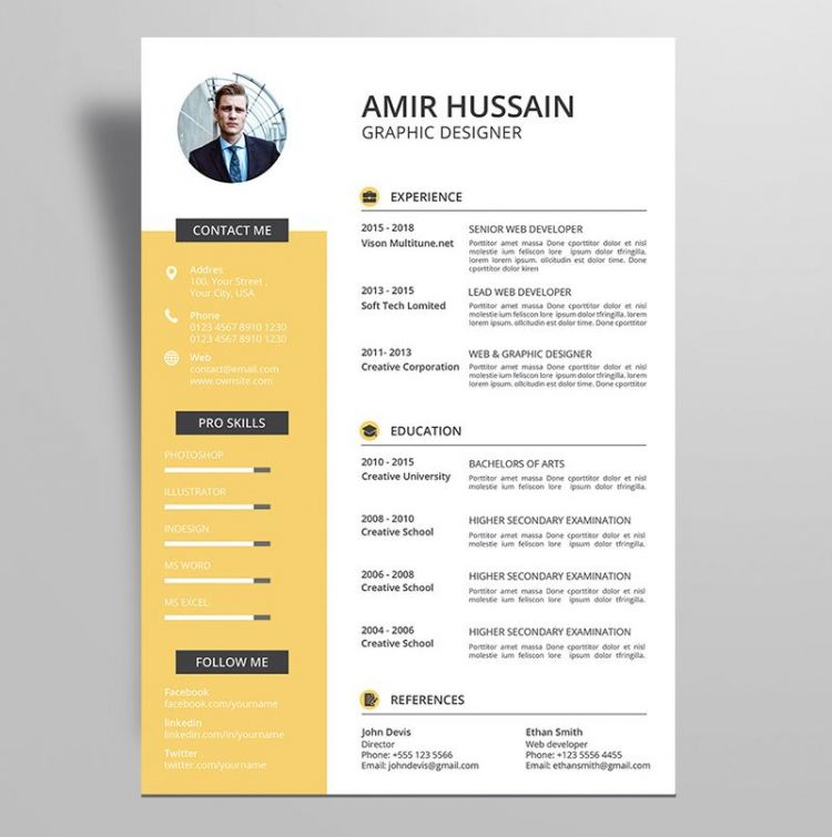 professional resume cv template free stockpsd example profile about yourself outline word Resume Professional Resume Template Free