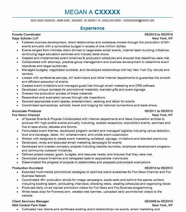 professional resume examples livecareer special events coordinator security analyst Resume Special Events Coordinator Resume
