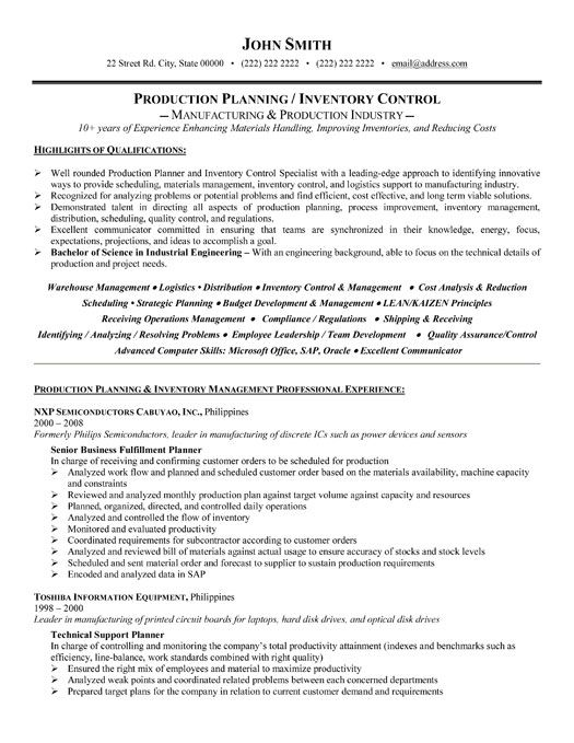 professional resume template for production planner or inventory controller want it now Resume Production Control Manager Resume